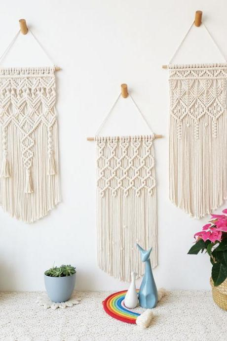3 Pack Macrame Wall Hanging Tapestry Boho Macrame Tapestry Woven Home Decor Wall Pediment
